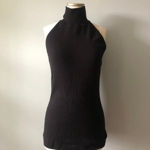 WHBM Black Sleeveless Knit Turtleneck